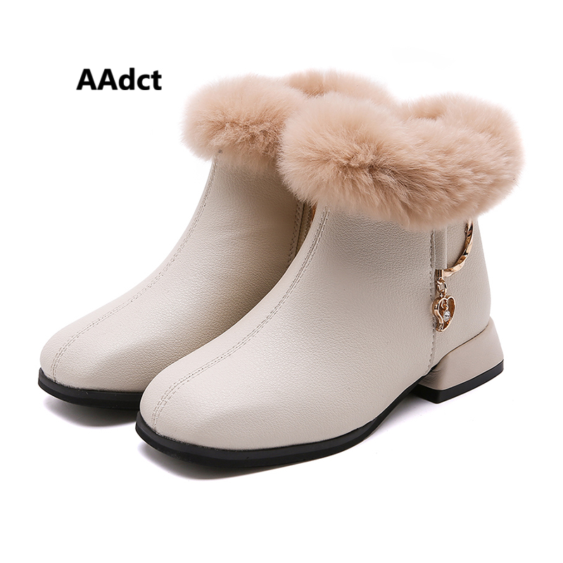 AAdct 2019 Winter Girls Boots New Princess Sweet  Lovely  Cotton Fur Warm Kids Boots For Girls Metal Decoration Children Shoes