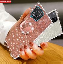 Dla Samsung Galaxy A12 przypadku diament magnetyczny pierścień uchwyt miękka tylna pokrywa dla Samsung A02S A42 5G A 12 A125F Glitter przypadki telefonów tanie tanio CHANHOWGP CN (pochodzenie) Częściowo przysłonięte etui Magnetic Ring Diamond Stand Glitter Soft Silicone Phone Case