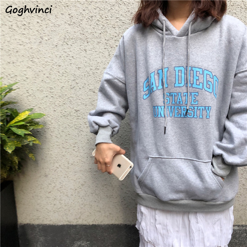Hoodies Women Letter Pockets Korean Style High Quality Thicker Warm Womens Harajuku Loose Leisure Hooded Students All-match Chic