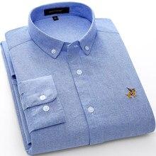 2020 primavera 100% cotone Oxford camicia da uomo bianco manica lunga ricamo vestibilità regolare morbido spesso confortevole maschio