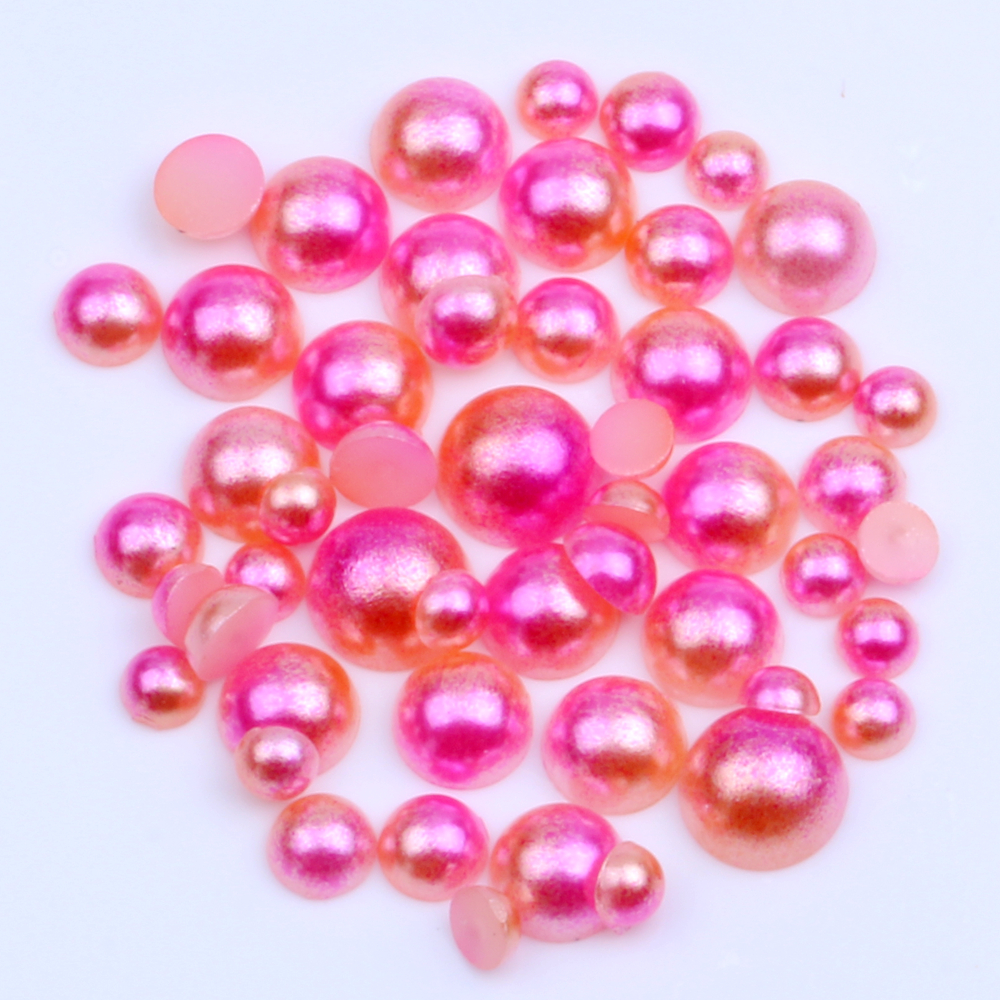 Lot 10 6mm Peach Blossom Pink Round Shiny Faceted Clear Center Drill Glass Beads