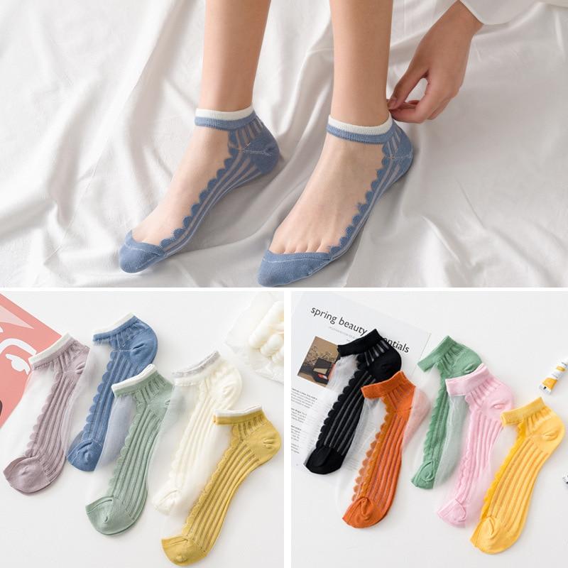 5 Pairs Women Socks Summer New Female Colorful Cotton Ankle Socks Cute Lovely Thin Solid Short Socks