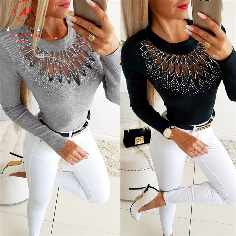 Elegant Women Autumn Winter Slim T-Shirts Patchwork Hollow Out Design Beading Decor See Through O-Neck Long Sleeve Solid Top