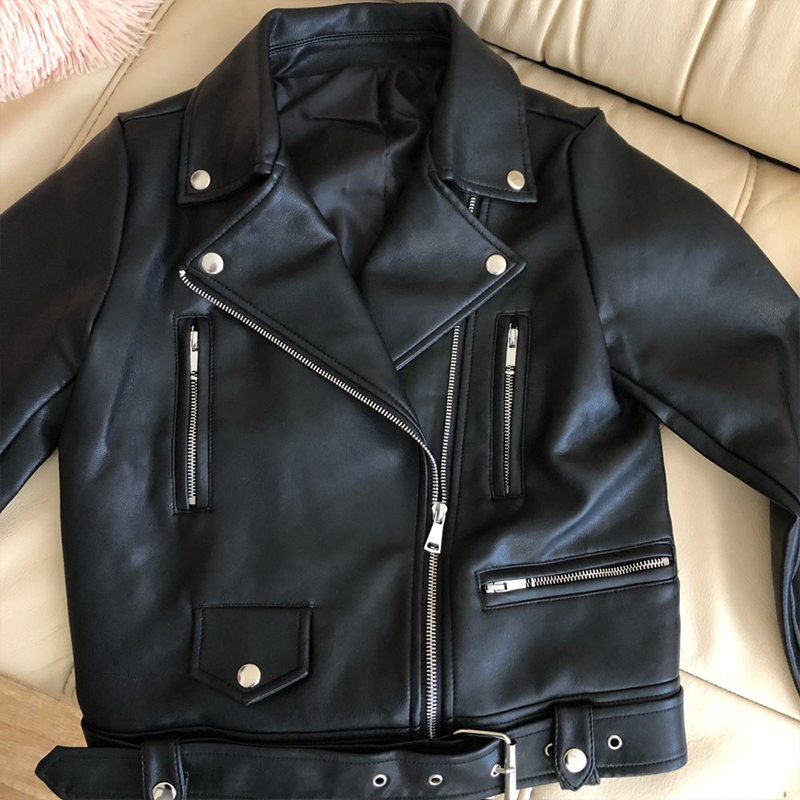Ailegogo New Women Spring Autumn Black Faux Leather Jackets Zipper Basic Coat Turn-down Collar Motor Biker Jacket With Belt