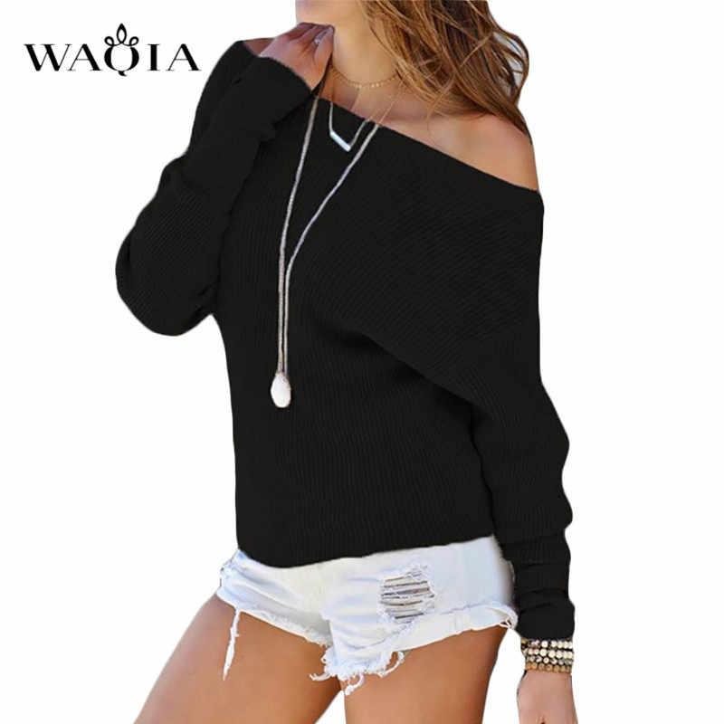 נשים סתיו חדש כבוי כתף סוודר ארוך עטלף שרוולים מוצק צבע סרוג סוודר חולצות סריגי Jumper חולצות
