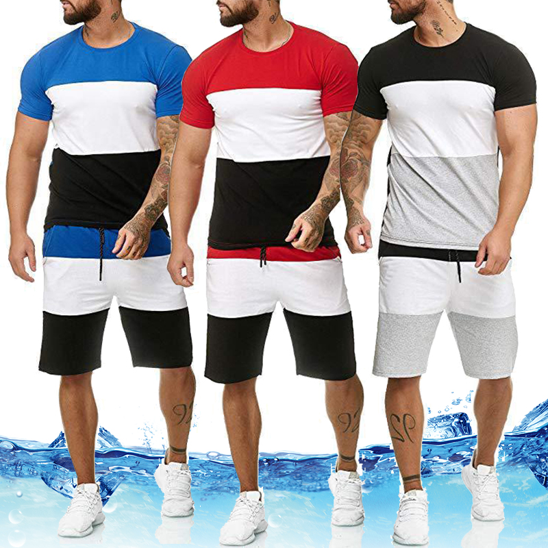 Men's Sets Mens 2 Piece Outfit Sport Set Stripe Print Sweatsuits Casual Shorts Set Summer Fashion Clothing Male Short Tracksuit