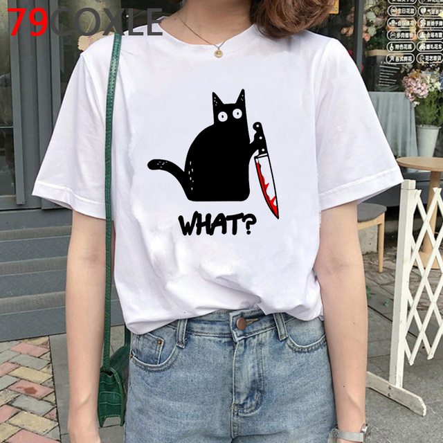 Cat with Knife T Shirt Women Kawaii Funnycartoon T-shirt Cat What Murderous Cat Kawaii Graphic T Shirts Plus Size Unisex Female 1