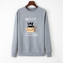 New Ninja Cat Print Women Hoodie Long Sleeve Pullover Women's Sweatshirt Autumn Hoodies Women O-NECK Clothes Casual Shein Tops(China)