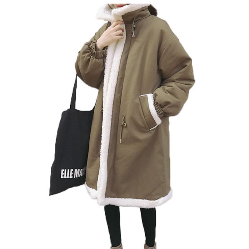 Winter jacket women 2019 Long Sleeve Loose Plus Size   Parka   Cotton Padded Coat Windproof Lamb Outerwear Lady Warm куртка женская