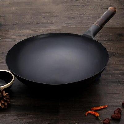 Poêle en fer à l'ancienne sans revêtement cuisinière à gaz antiadhésive Wok batterie de cuisine traditionnelle Wok à la main sans revêtement noir cuisson brillante