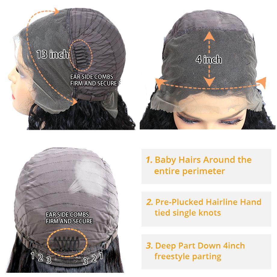 cabelo humano perucas 13x4 frontal pré arrancadas