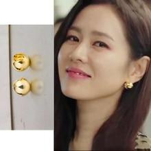 Hyun Bin Son Ye Jin ball gold color Stud ear Korean dramas TV For Women Earrings pendientes brincos ornament