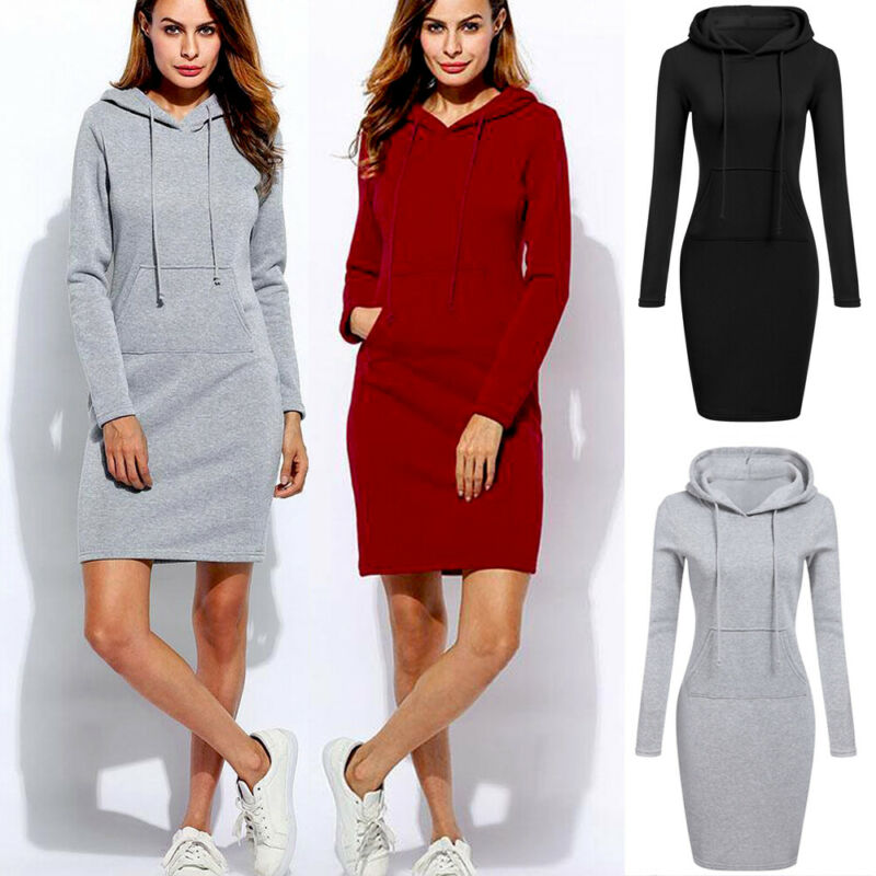 High Quality 2019 New Hot Sale Fashion Women's Casual Style Hooded Hoodie Long Sleeve Sweater Pocket Bodycon Tunic Dress Top