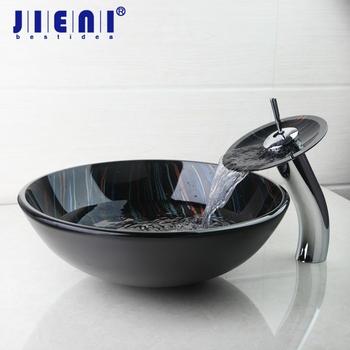 JIENI nowoczesne hartowane szklana umywalka miski umywalki statku ręcznie malowana umywalki z mosiężny kran krany odpływ wody umywalka do łazienki zestaw tanie i dobre opinie Jeden otwór ROUND Szkło Ociekaczem 4281-1 6 Blat umywalki Other Ręcznie malowane Tempered Glass Basin Sink Vessel Basin Faucet Pop up Drain