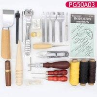 Verschiedene Menge Kombinationen  Leder Nähte Hand Nähen Werkzeuge Kit mit Prong Punch Edger Creaser Groover DIY Leathercraft-in Handwerkzeug-Sets aus Werkzeug bei