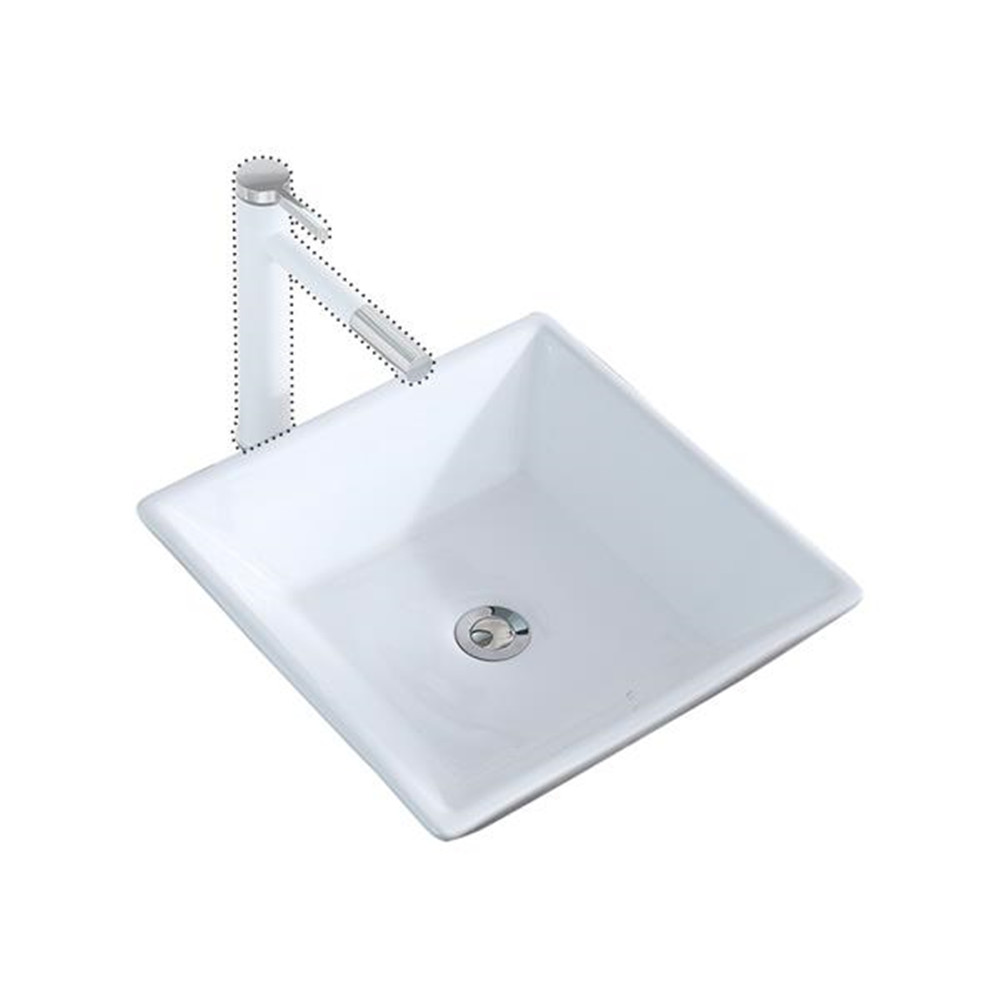 Bathroom Above Counter Square Ceramic Vessel Vanity Sink Art Basin - White Porcelain - With Pop Up Drain Stopper