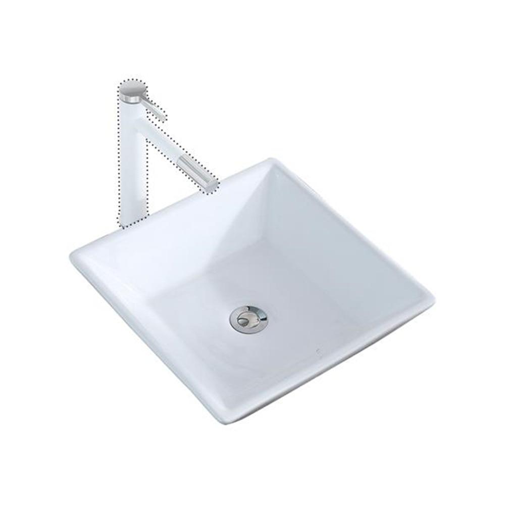 Bathroom Above Counter Square Ceramic Vessel Vanity Sink Art Basin - White Porcelain - With Pop Up Drain Stopper