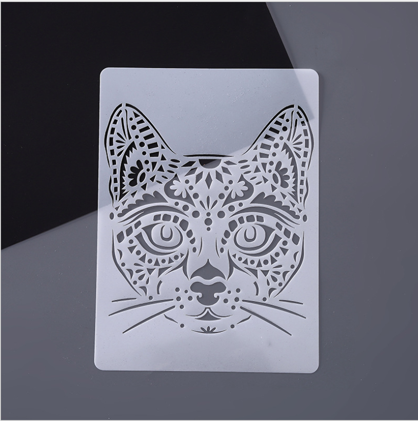 A4 29 * 21cm Creative Animal Cat  DIY Stencil Wall Painting Scrapbook Coloring Photo Album Decorative Paper Card Template