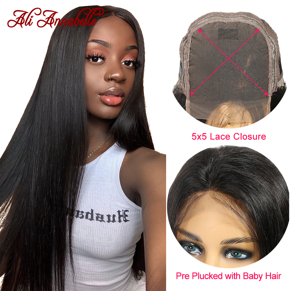 Straight 5*5 Lace Closure Human Hair Wigs For Black Women Malaysian Straight Human Hair Wigs Lace Closure Wig ALI ANNABELLE HAIR