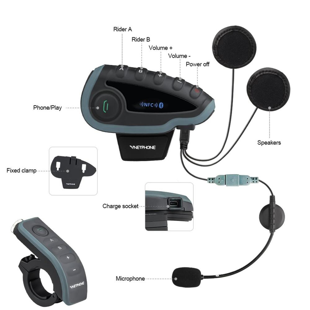 V8 casque moto interphone casque casque pour casque 5 pilotes BT Intercoms FM Radio NFC télécommande prise USB