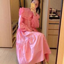 2021 Spring Women Dress Princess Style Peter Pan Collar Long Sleeve Ruffles Lantern Sleeve Cotton Dresses Fashionable Clothes