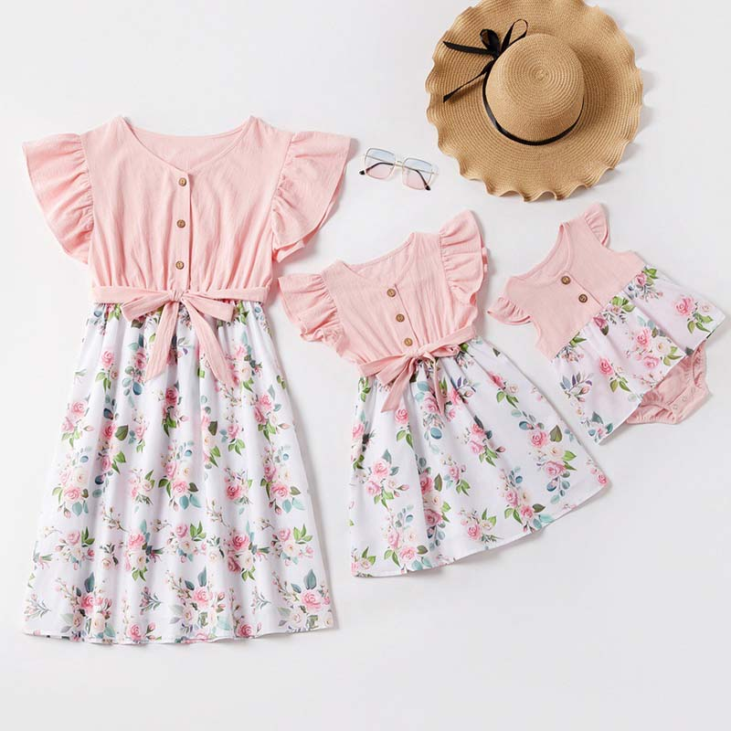 2020 New Mother Daughter Dresses Baby Romper Fashion Patchwork Floral Dress Mommy And Me Clothes Family Matching Clothes