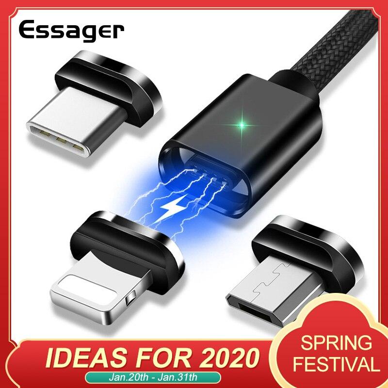Essager Магнитный USB кабель для iPhone Тип C магнит зарядное устройство данных зарядки Micro USB кабель для кабели для мобильного телефона Android