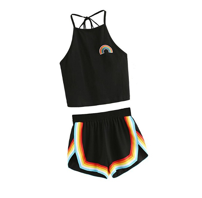2018 New Style European And American Women's Casual Sports Rainbow Shorts Set Two-Piece Set