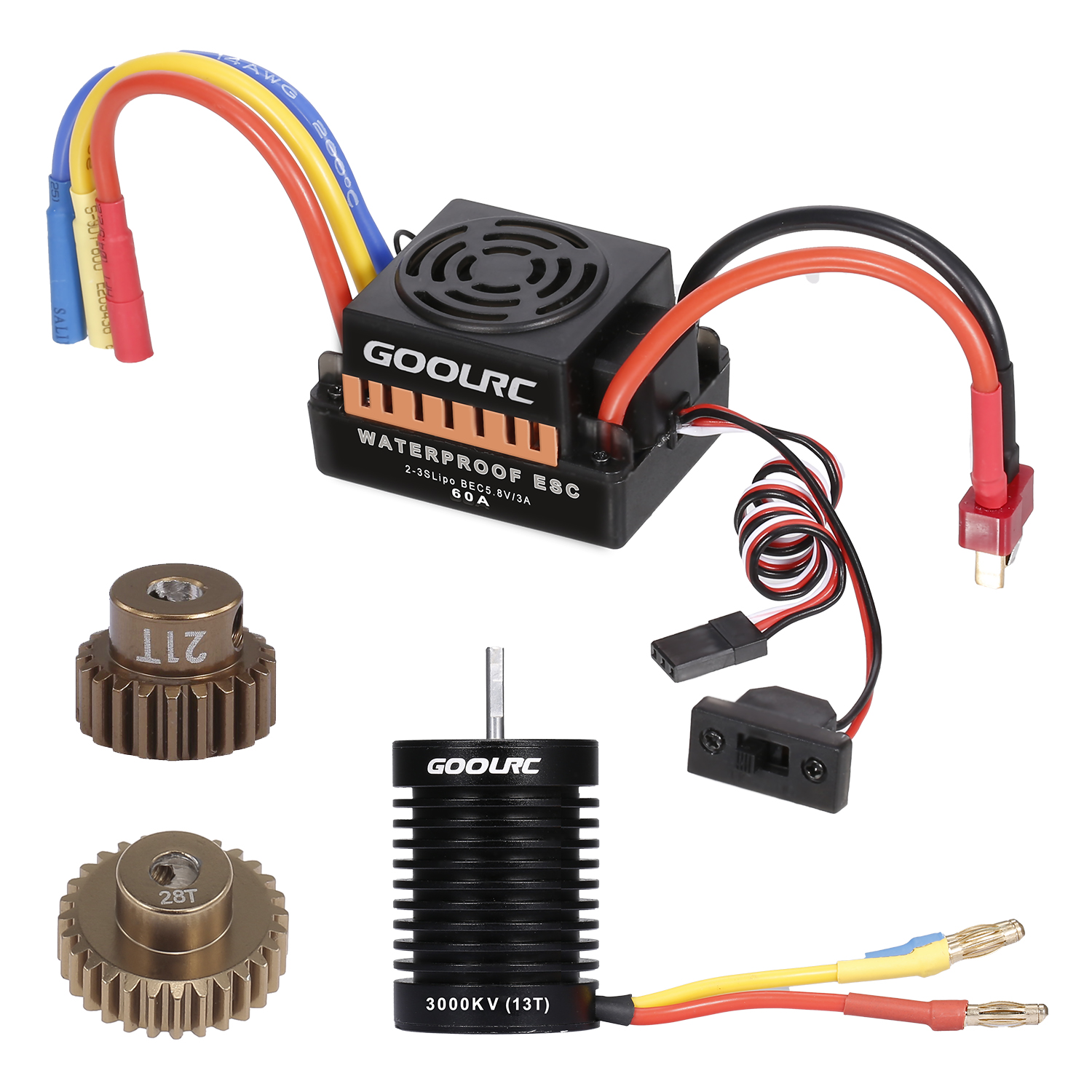 <font><b>GoolRC</b></font> 13T Motor <font><b>3650</b></font> 3000KV Brushless Motor 60A ESC 5.8V/3A BEC 21T Gear 28T Gear Combo for 1/10 RC Car Crawler Accessories image