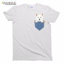 2019 Brand New Clothing Mens Pop Cotton Man West Highland Terrier Westie Pocket Dog Birthday Gift T-Shirt Mens Ladies Tee Shirt bold stripe cotton blends mens chest pocket shirt