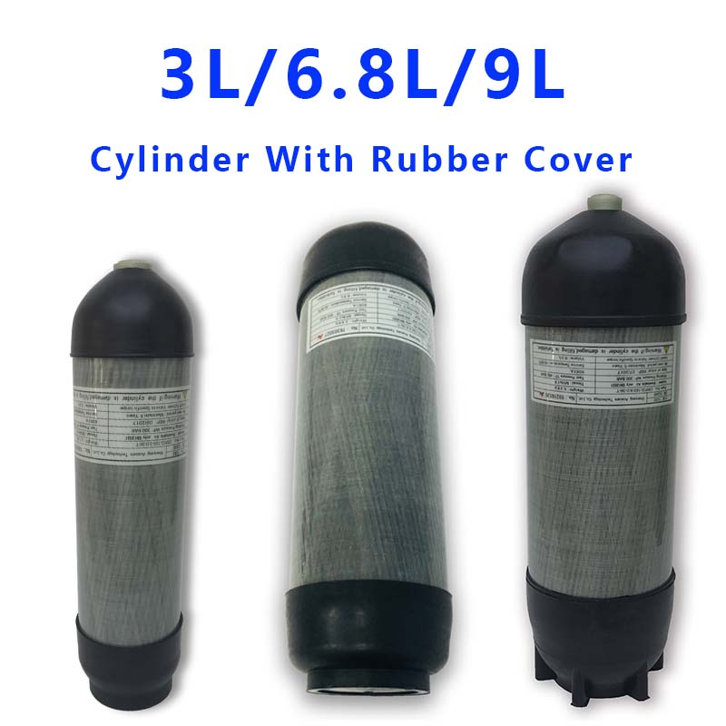 Acecare 3L/6.8L/9L PCP Air Tank Scuba Carbon Fiber Cylinder 4500Psi For Pcp Air Rifle Airgun/Airsoft With Rubber Cover Boots