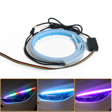 RGB Daytime Running Light DRL 30 45 60CM Multi Color Flexible Soft Tube Guide LED Strip Remote Turn Signal Lights For Headlight