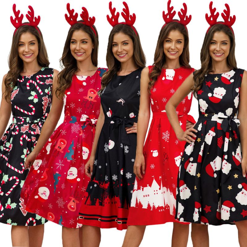 Plus Size Woman Vintage Dress Santa Christmas Retro Xmas Printed O-Neck Sleeveless Swing Dress Sexy Women Clothing Hot