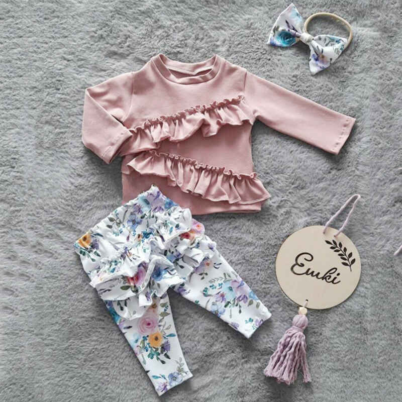 Floral Pants with Headband Outfit Set Toddler Baby Girls Fall Clothes Long Sleeve Tops T-Shirts