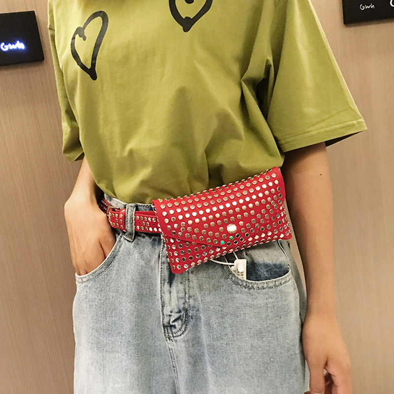 Fanny Pack Waist Bags Fashion Rivet Punk Women Belt Pack Vintage Mini Bags Pu Leather Simple Casual Belt Bag Hip Pocket
