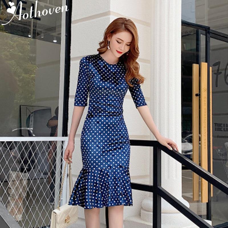 2019 сексуальное облегающее вечернее платье Русалка женские платья с рукавом три четверти и круглым вырезом офисная винтажная повязка в горошек бархатное платье Платья      АлиЭкспресс
