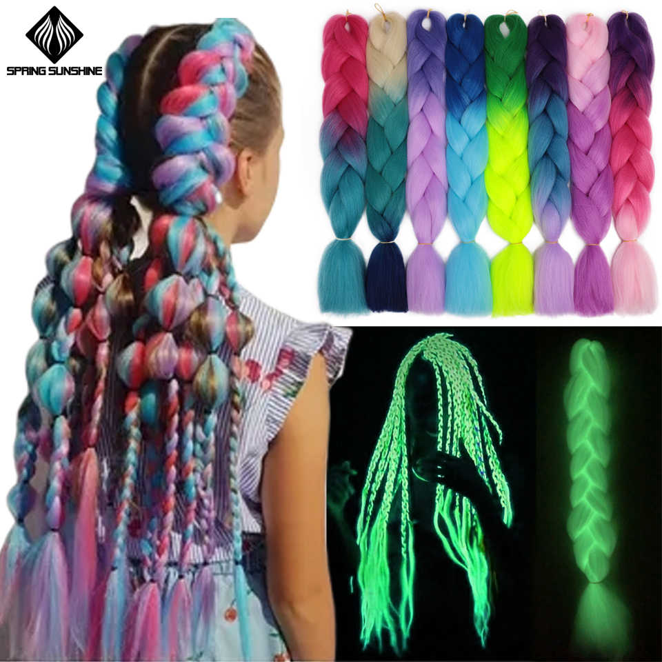 Spring Sunshine Sintetis Rambut Mengepang Jumbo Kepang Panjang Ombre Jumbo Crochet Braid Rambut Pirang Merah Muda Abu-abu Rambut Ekstensi Afrika