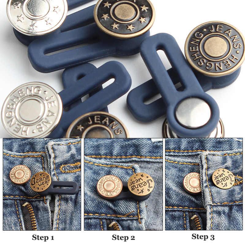 กางเกงยีนส์ Retractable กางเกงเข็มขัดปรับได้ที่ถอดออกได้ EXTENDED หัวเข็มขัดปุ่มเสื้อผ้ากางเกงยีนส์เข็มขัด Ceinture เย็บปุ่ม