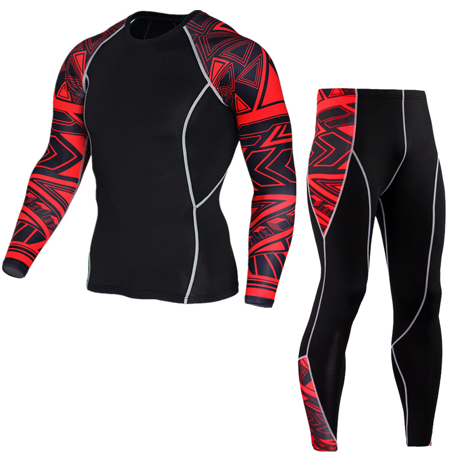 Plus Size 2pcs/set Mens Tracksuit Sport Suit Gym Fitness Compression Clothing Running Jogging Sport Wear Exercise Workout Tights