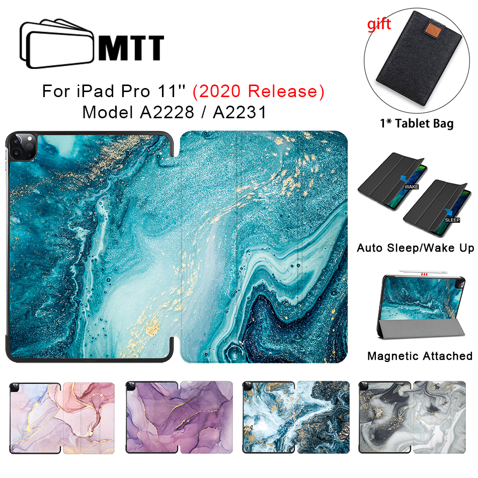 MTT 2020 Cover Case For IPad Pro 11 Inch Slim PU Leather Flip Stand Smart Cover Marble Protective Tablet Case Model A2228 A2231