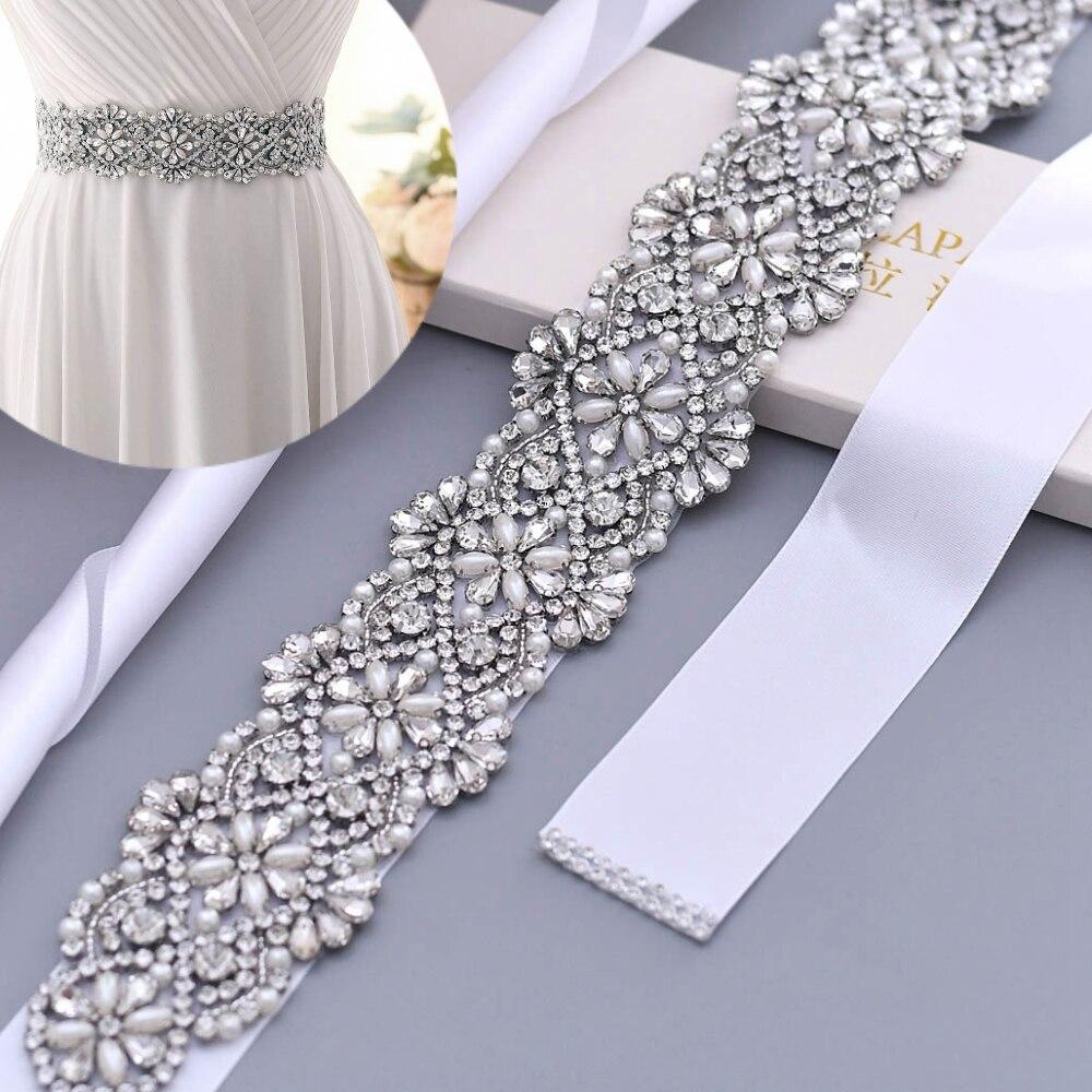 TOPQUEEN S04B fajas nupcial de las mujeres diamantes de imitación cristales novia boda cintura cinturones accesorios para fiesta de noche vestido de noche Vestidos