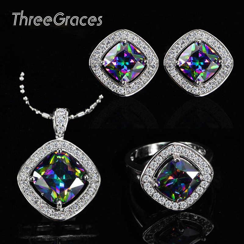 Threegraces 新着ファッションレディースジュエリーキュービックジルコニア正方形の虹神秘的な cz リングイヤリングネックレスセット JS194