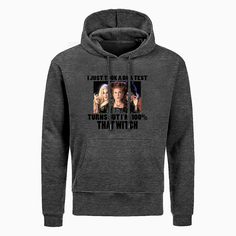 Sanderson Sisters Hocus Pocus komik cadılar bayramı film Hoodies ben sadece nokta bir Dna testi erkek komik baskılı kapüşonlu svetşört serin kazak erkekler