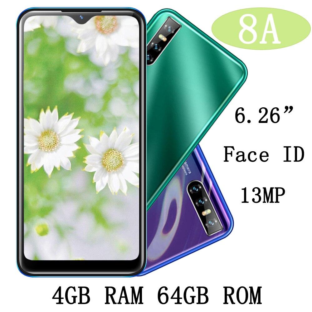 6,26 ''Капля воды экран 8A 4G RAM 64G ROM распознавание лица оригинальный мобильный телефон разблокированный смартфон Android мобильный телефон MTK