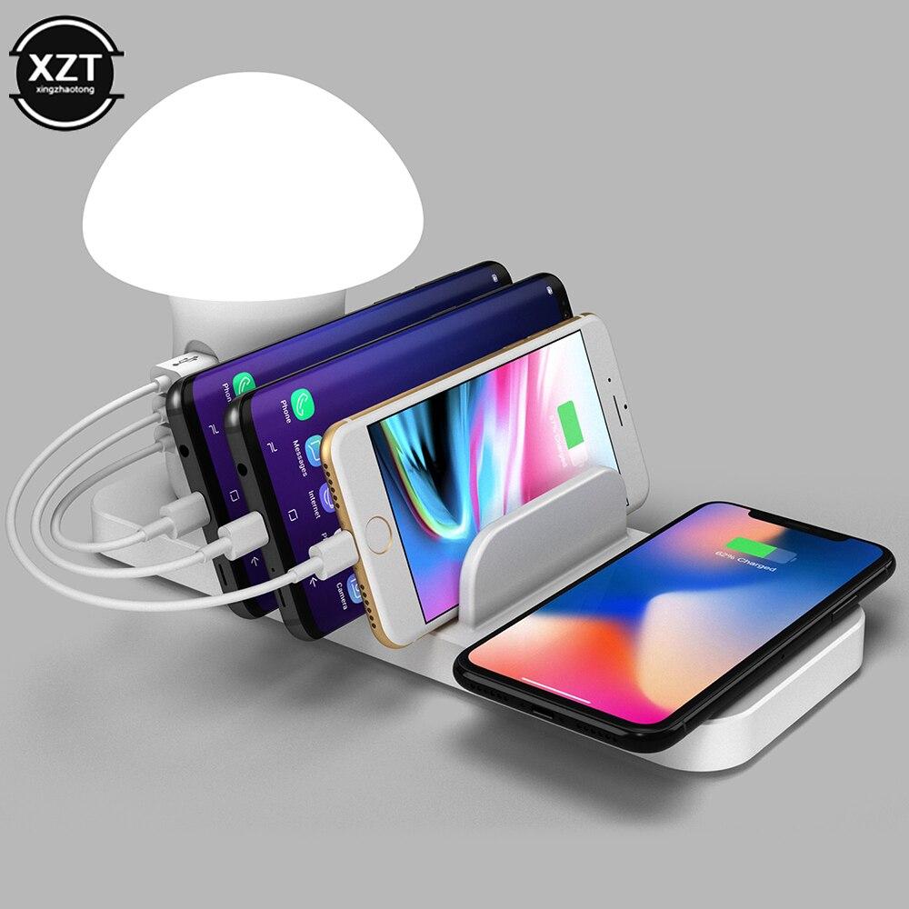 Мульти USB 3,0 Быстрое беспроводное зарядное устройство Sation Hub для Iphone Samsung S10 Грибная лампа Светодиодная лампа Быстрая зарядка док зарядная станция|Зарядные устройства| | АлиЭкспресс
