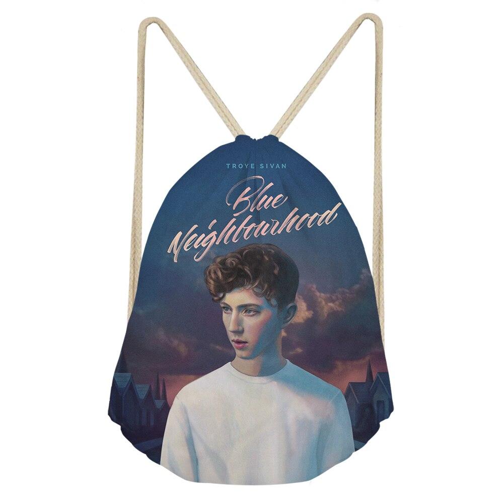 THIKIN Handsome Star Troye Sivan Print Drawstring Bags Beach Pouch For Teenager Women Fans Travel Easy Shoulder Bag Custom 2019
