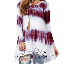 2019 Autumn Fashion Gradient Color Women T-shirt Tops Long Sleeve Hem Lace Women T-shirt Print Female O-neck Loose Top