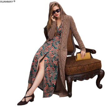 Women's Thick Over the Knee Long Style Hooded Cardigan Sweater 2020 Spring Button Cardigan Sweater Cozy warm Cardigan Sweater