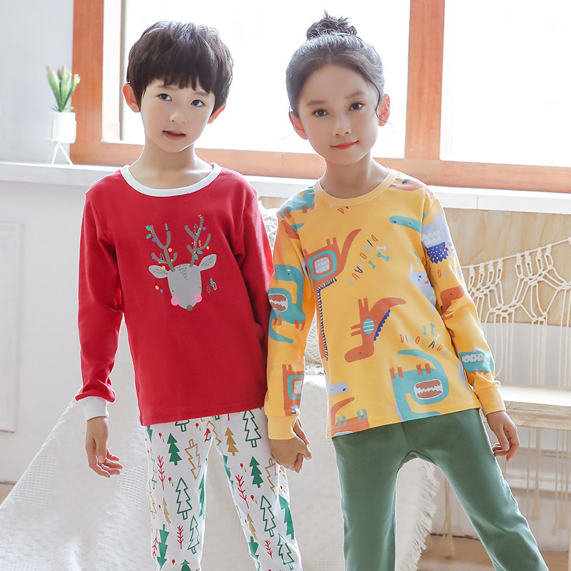 Christmas Pyjamas Sets 100/% Cotton Little Boys Girls Pjs Kids Sleepwear 2pcs