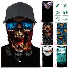 3D Skull Magic Scarf Halloween Fashion Scarf ski mask Headband Neck Gaiter Face Cover Tube Scarf Bike Cycling Bandana Men Women